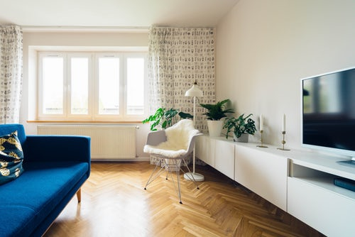 View of sunny living room within a first home